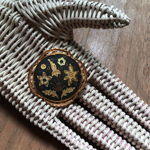 Vintage Black and Gold Damascene Brooch